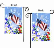 "WELCOME PATRIOTIC FLORAL FLOWERS AMERICAN FLAG YARD GARDEN FLAG 12"" X 18"""