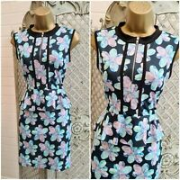 GLAMOUR BABE UK 10 Blue Floral Peplum Stretch Wiggle Pencil Dress Summer