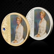 UK Princess Diana Rose Butterfly Diamond Gold &Silver Plated Crown Souvenir Coin