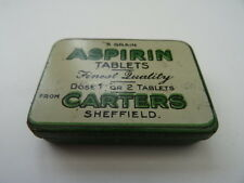 Antique Aspirin 5 Grain Tablets Tin by Carters of Sheffield, England. Empty.