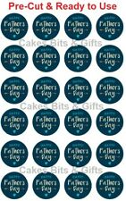 24x HAPPY FATHER'S DAY Edible Wafer Cupcake Toppers PreCut Ready to Use Design 7