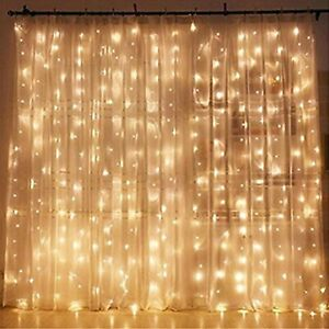 Twinkle Star 300 LED Window Curtain String Light Wedding Party Home Garden Be...