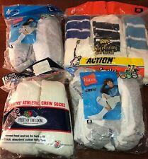 WOW HUGE LOT of 24 pair Vintage 80s 90s socks Hanes Fruit of the Loom White 9-11