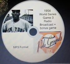 1954 World Series Game 3 radio broadcast in MP3 Format New York Giants win