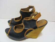 "SAM EDELMAN~""Kendall""~Black & Tan Leather Platform Wedge Sandal Shoe~ Size10~EUC"