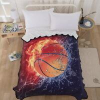 3D Basketball Velvet Plush Throw Blanket Sherpa Bedding Thin Quilt 60''×80''
