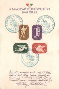 Hungary 1940 Souvenir card Mi 643-646 used Horthyne