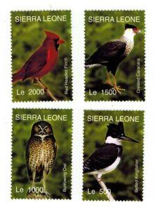 MODERN GEMS - Sierra Leone - Various Birds - Set of 4 - MNH