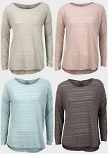 Ladies Womens Burn-out Stripe Top Light Sheer Knitted Fabric Long Sleeves Shirt