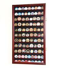 88 Challenge Coin Display Case Holder Cabinet Rack 98% UV - Adjustable Shelves