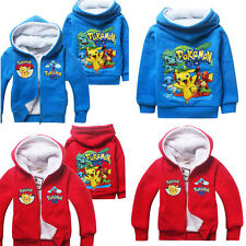Kids Long Sleeve POKEMON GO Zipper Hoodies Coat Hooded Cartoon Clothes 4-12 Yrs