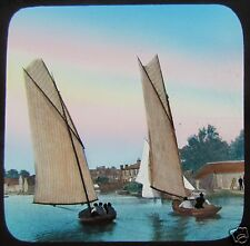 RARE Glass Magic Lantern Slide NORFOLK BROADS SAILING MATCH C1890 ENGLAND YACHTS