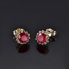 HUCHE Red Sapphire Ruby Crystal Yellow Gold Filled Flower Style Lady Earrings