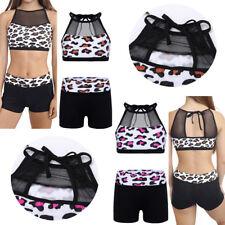 US Girls Dance Sport Outfit Leopard Leotard Top+Bottoms Gym Ballet Yoga Workout