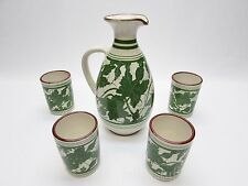 Moses Handmade Cyprus Pottery Pitcher & Cup Ivy Grape Leaf Green Vine Set 5-pc