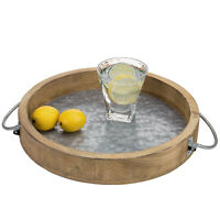MyGift 12 Inch Burnt Wood and Galvanized Metal Round Serving Tray with Handles