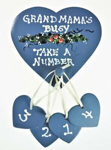 Grandma's Busy Take a Number Painted Wood  Wall Plaque Sign Gift