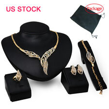 Fashion Women Wedding Bridal Crystal Gold Plated Necklace Earrings Jewelry Sets