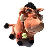 """Disney Store Original Lion King Pumba Warthog Grub Bugs Large 14"""" Plush Stuffed"""