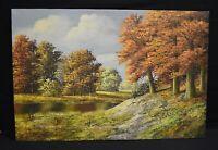 Colorful Vintage Pond Landscape Oil Painting Signed Verkerk