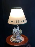 """Vintage Mill House Cottage Scene Lamp With Shade 14"""" Tall"""