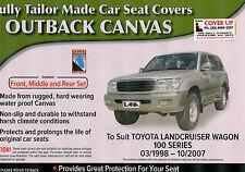 LANDCRUISER COTTON CANVAS CAR SEAT COVERS 100 SERIES  FULL SET GXV/GXL/VX
