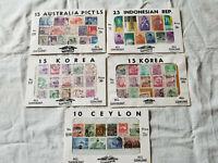 LOT OF 5 HYGRADE ALL GENUINE STAMPS PACKS KOREA CEYLON AUSTRALIA INDONESIA