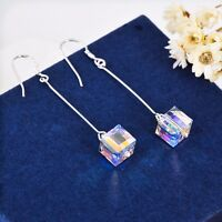 925 Sterling Silver Genuine Swarovski Elements Crystal Cube Dangle Drop Earrings