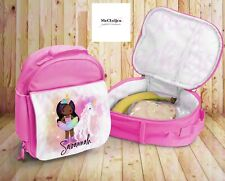 Unicorn Girl Lunchbox, Personalised Kids Lunchbag, Insulated Bag, Pink And Blue