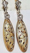 ANTIQUE VICTORIAN FRENCH 18K GOLD OVAL ORCHID ENGRAVED FINE DANGLE EARRINGS 1900