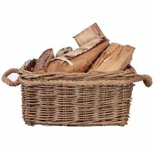 Rustic Fireside Chunky Wicker Log Basket Potato Basket With Rope Handles
