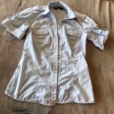 Zara Basics Career Shirt Blouse Sz S Button up Shirt Blue White Pockets