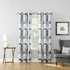 "No 918 Navy Blue Blockade Grommet-Top Curtain Panel, 40""x63"""