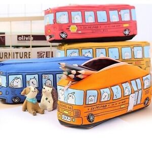 Student Stationery Box Pencil Pouch Animal Pattern Bus Shaped Canvas Pen Bag Red