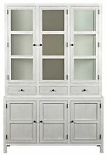 "90"" Hutch Solid Mahogany White Washed 3 Drawers 3 Glass Doors 3 Cupboards"