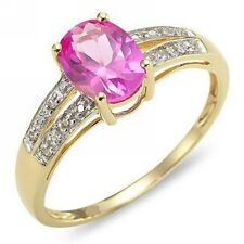 Womens Size 8 Cute Halo Pink Sapphire 18K Gold Filled Fashion Popular Party Ring