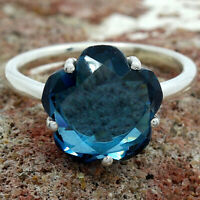 Faceted London Blue Topaz 925 Sterling Silver Ring Jewelry DGR1081_E
