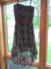 Rue 21 Junior Size Small Navy/Beige High/Low Dress SW Pattern BRAND NEW w/o tag