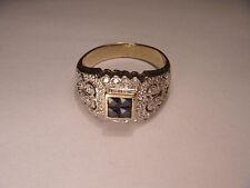 Fabulous Antique 14K Yellow Gold Sapphire Diamond Filigree Cluster Band Ring