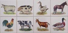 15x15 Küchenfliesen mit Bauernhoftieren Schwein Ganz Hahn Pferd Ziege Kuh Ente