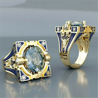 Women Men 18K Gold Plated Topaz Blue Ring Wedding Jewelry Couple Gift Size6-10