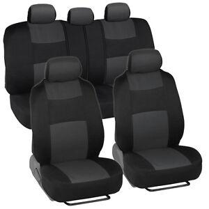 Car Seat Covers for Nissan Versa 2 Tone Charcoal & Black w/ Split Bench