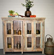 Reclaimed Timber Glass Shabby Chic Country Cabinet Buffet Sideboard Vintage