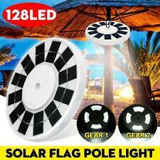 128 LED Flag Pole Solar Power Automatic Light Night Super Bright Flagpole Light