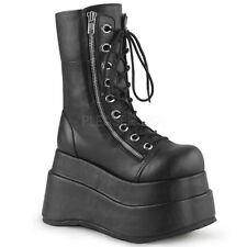 "Huge Demonia 4.5"" Stacked Platform Vegan Black Calf Zipper Boots Goth 6-12"