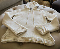 GAP Ivory Cotton Knit Hoodie Sweater Ladies Small