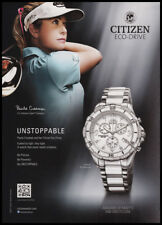 Paula Creamer 1-pg clipping 2012 ad for Citizen Eco-drive watch