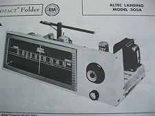 ALTEC LANSING 305A TUNER RECEIVER PHOTOFACT PHOTOFACTS