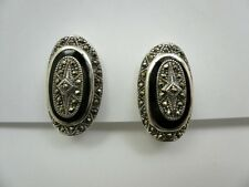 Fancy Sterling Silver Marcasite Oval Onyx Clip On Earrings