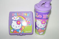 TUPPERWARE Hello Kitty Rainbow Purple Lunch Set Sandwich Keeper Tumbler spout